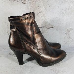 Franco Sarto Ankle Boots Women's 8B Heels Bronze